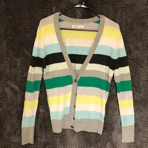 Grey, Green, and Blue Striped Cardigan